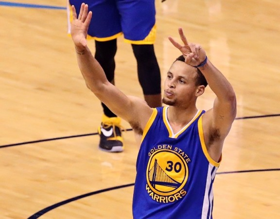 May 28, 2016; Oklahoma City, OK, USA; Golden State Warriors guard Stephen Curry (30) celebrates during the fourth quarter against the Oklahoma City Thunder in game six of the Western conference finals of the NBA Playoffs at Chesapeake Energy Arena. Mandatory Credit: Kevin Jairaj-USA TODAY Sports